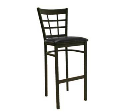 "AAF MC450-BSBL Barstool - 9-Grid Metal Window Back, 2"" Padded Seat, Steel Frame"