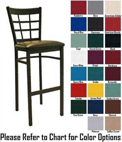 AAF MC450-BSGR5 Upholstered Barstool w/ Metal 9-Grid Window Back & Grade 5,