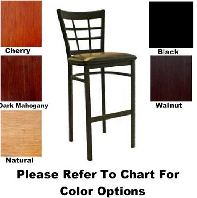 AAF MC450-BSWS Upholstered Barstool w/ Metal 9-Grid Window Back & Solid Wood Seat,