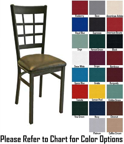 Aaf MC450GR5 Upholstered Side Chair w/ Metal 9-Grid Window Back & Grade 5,