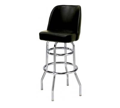 Aaf MS2B-LBL Upholstered Bucket Style Swivel Barstool w/ Chrome Plated Frame, Black Vinyl