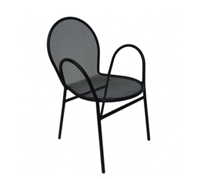 AAF OM110 Patio Stacking Arm Chair - Mesh Back/Seat Powder Coated 16-ga Steel