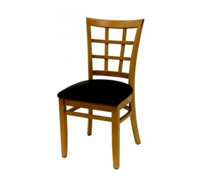 AAF WC804BL Upholstered Side Chair w/ Wood 9-Grid Window Back & German Beech, Black Vinyl