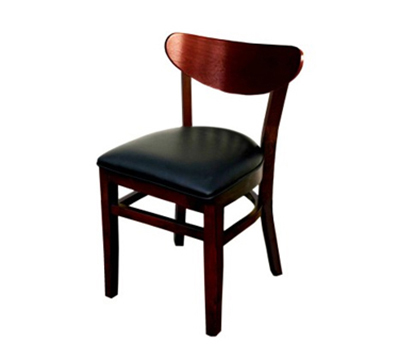 AAF WC808BL Upholstered Side Chair w/ German Beech Wood & Dark Mahogany Finish, Black Vinyl