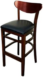 AAF WC808-BSBL Barstool - Wood Oval Back, Dark Mahogany Finish Black Vinyl