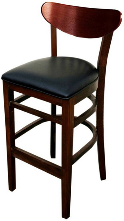 AAF WC808-BSBL Barstool - Wood Oval Back, Dark Mahogany Finish Black Vinyl