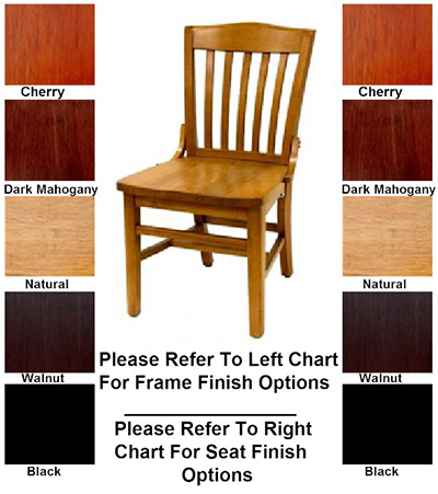 AAF WC811WS Schoolhouse Side Chair w/ Slat Back, Saddle Seat, German Beech Wood, Support Bar