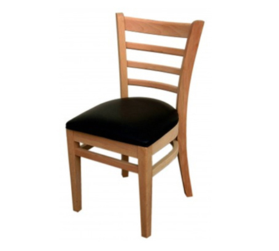 AAF WC822BL Upholstered Side Chair w/ Ladder Back & German Beech Wood, Black Vinyl