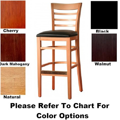 Aaf WC822-BSBL Upholstered Barstool w/ Ladder Back & German Beech Wood , Black Vinyl