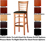 AAF WC822-BSWS Upholstered Barstool w/ Ladder Back, Solid Seat, German Beech Wood & Footrest