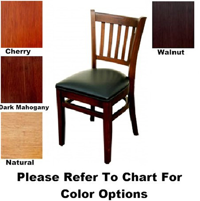 AAF WC823BL Upholstered Side Chair w/ Slat Back & German Beech Wood, Black Vinyl