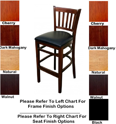 AAF WC823-BSWS German Beech Wood Barstool w/ Slat Back & Solid Seat, Footrest