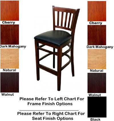 Aaf WC823-BSWS German Beech Wood Barstool w/ Slat Back & Solid Seat, Footrest