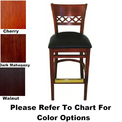 AAF WC825-BSBL Upholstered Venetian Barstool Criss Cross Bottom, German Beech Wood, Black Vinyl