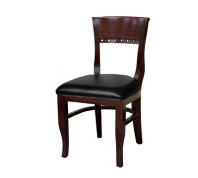 AAF WC828BL Upholstered Beidermeier Side Chair w/ Wood Back, Circle Cutouts & Black Vinyl
