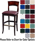 AAF WC828-BSGR5 Upholstered Beidermeier Barstool w/ Circle Cutouts & Wood Back, Grade 5