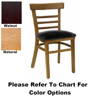 Aaf WC836BL Upholstered Economy Side Chair w/ Wood Ladder Back German Beech Wood Black Vinyl