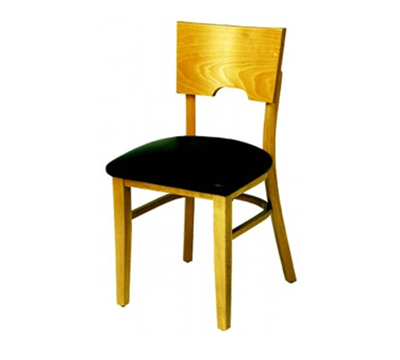 AAF WC855BL Upholstered Side Chair w/ Wood Niche Back, German Beech Wood & Black Vinyl