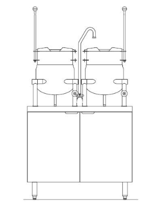 Blodgett Oven CB36E 6 6K Electric Kettle/Stand Assembly 36 in W (2) 6 gal Kettles 380/3 Restaurant Supply