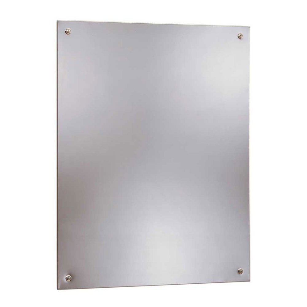 "Bobrick B15561824 B-1556 Series Frameless Stainless Steel Mirror, 18"" X 24"""