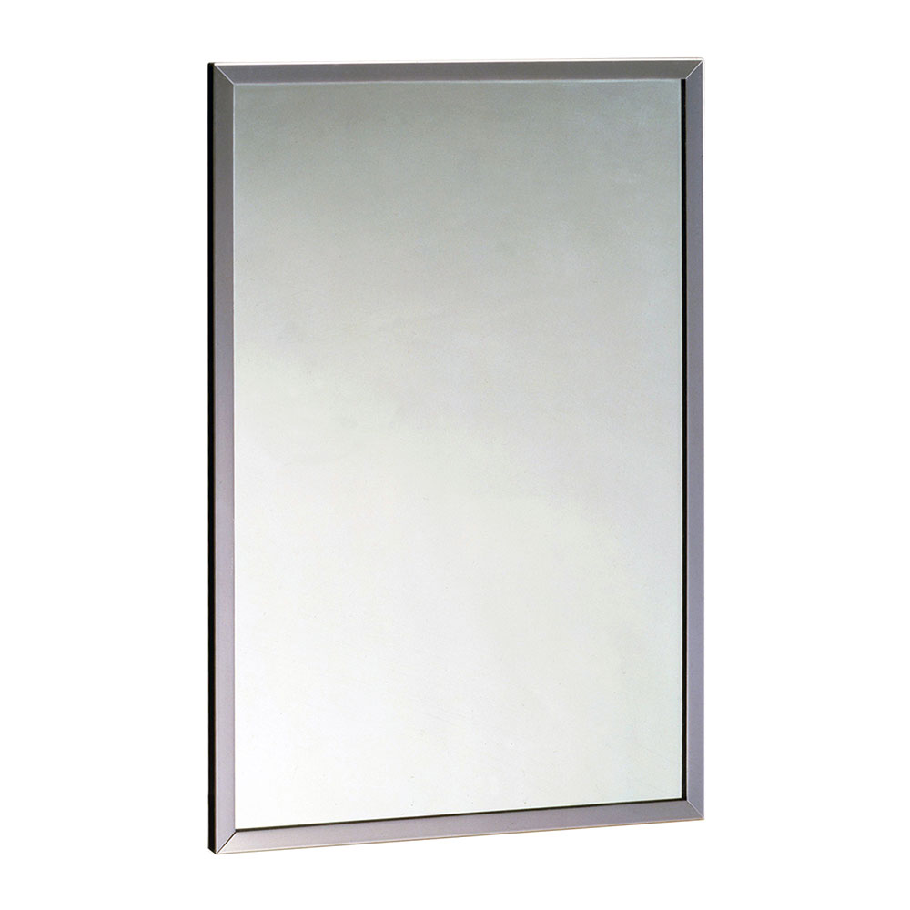 "Bobrick B16581830 B-1658 Series Tempered Glass Channel Frame Mirror, 18"" X 30"""