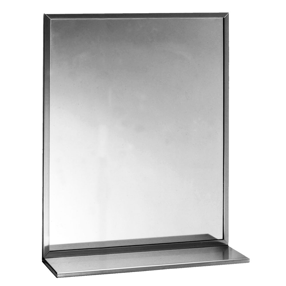 "Bobrick B1661836 B-165 Series Channel-Frame Mirror with Stainless Steel Shelf, 18"" X 36"""