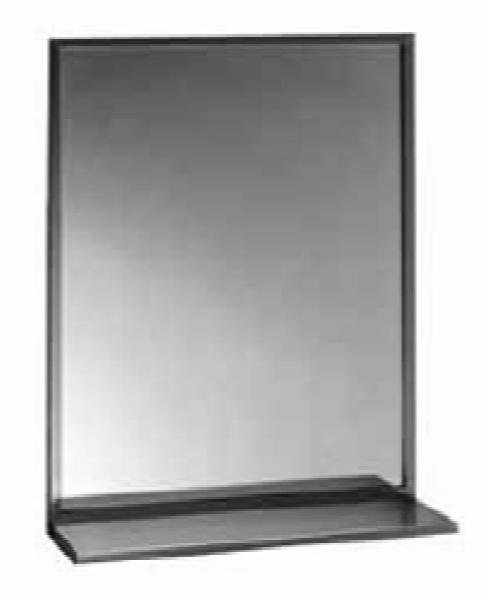 Bobrick B1661836 B-165 Series Channel-Frame Mirror with Stainless Steel Shelf, 18 in x 36 in