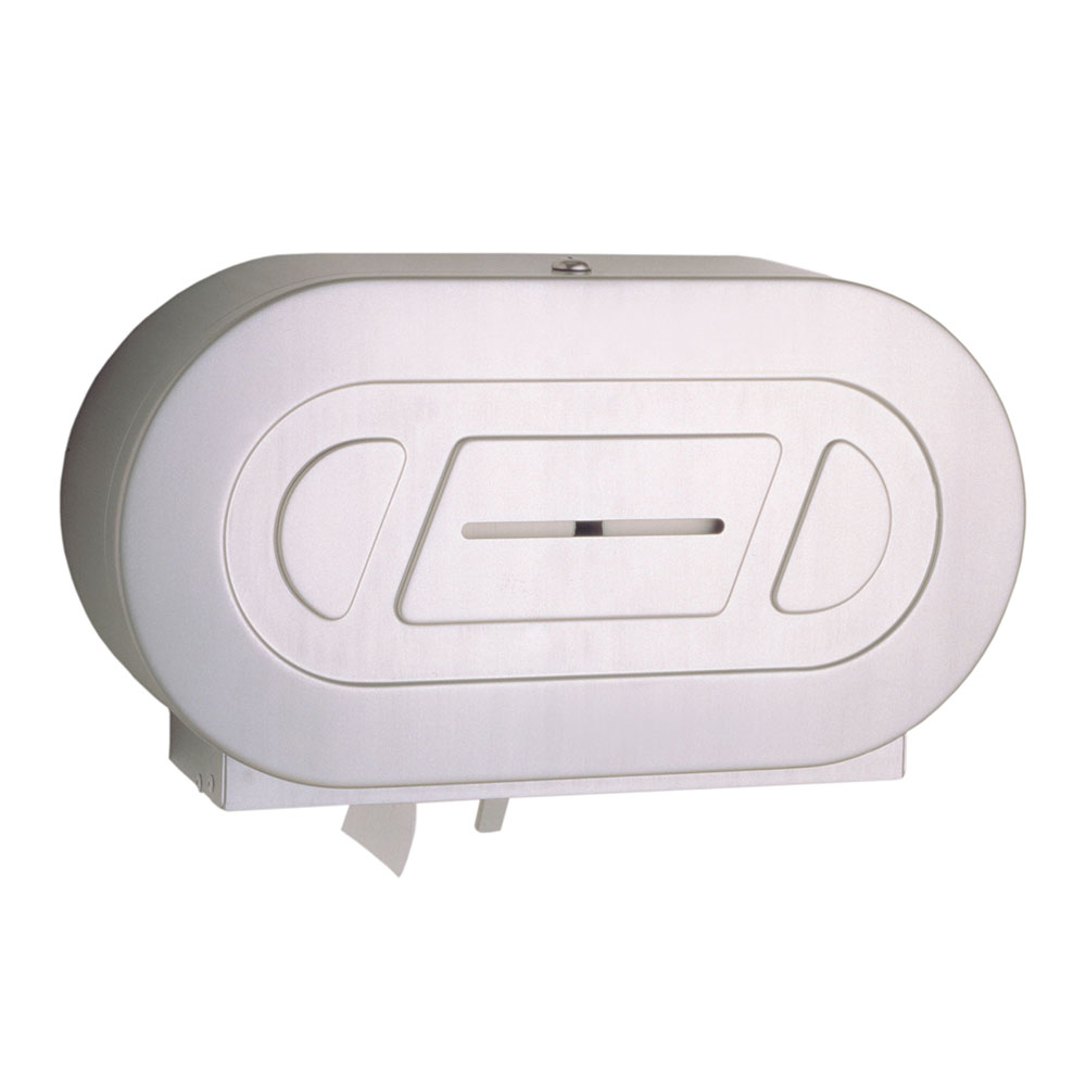 Bobrick B-2892 Surface-Mounted Twin Jumbo-Roll Toilet Tissue Dispenser, Stainless
