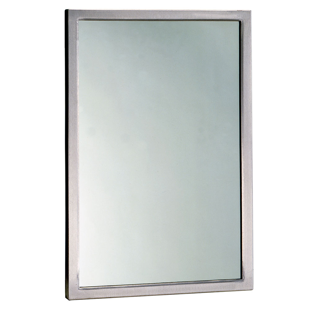 "Bobrick B29081830 B-2908 Series Welded Frame Tempered Glass Mirror, 18"" X 30"""