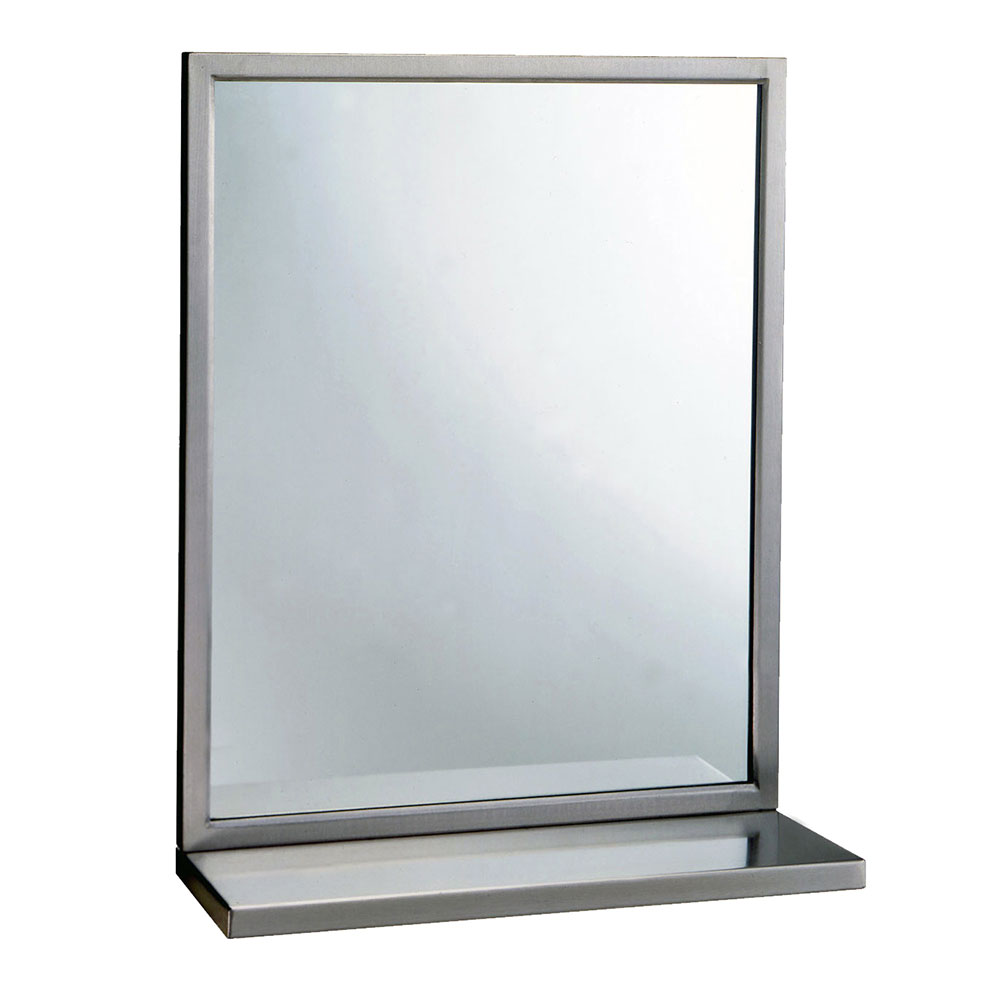 "Bobrick B2921830 B-292 Series Welded Frame Glass Mirror / Shelf Combination, 18"" X 30"""