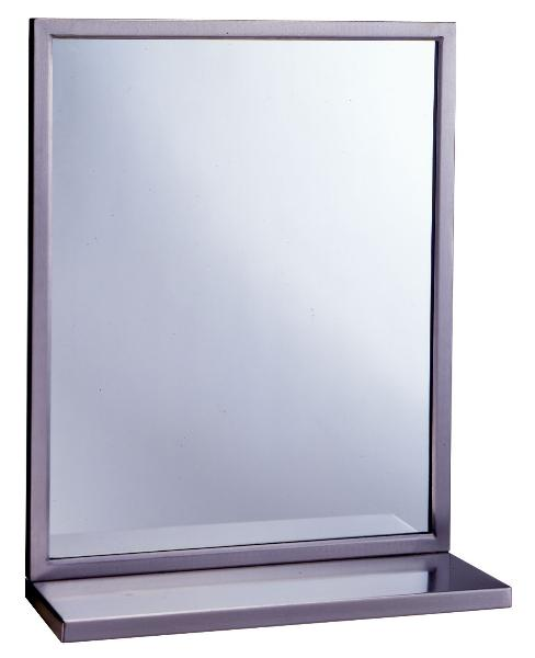 Bobrick B2922436 B-292 Series Welded Frame Glass Mirror / Shelf Combination, 24 in x 36 in