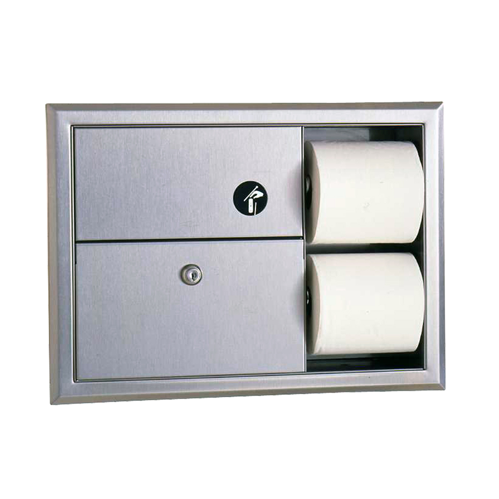 Bobrick B3094 Classic Series Recessed Sanitary Napkin Disposal & Toilet Tissue Dispenser