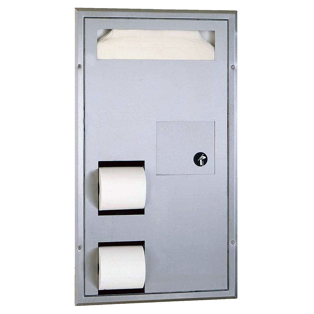 Bobrick B3571 Classic Series Partition Mounted Combination Dispenser with Grab Bar Clearance