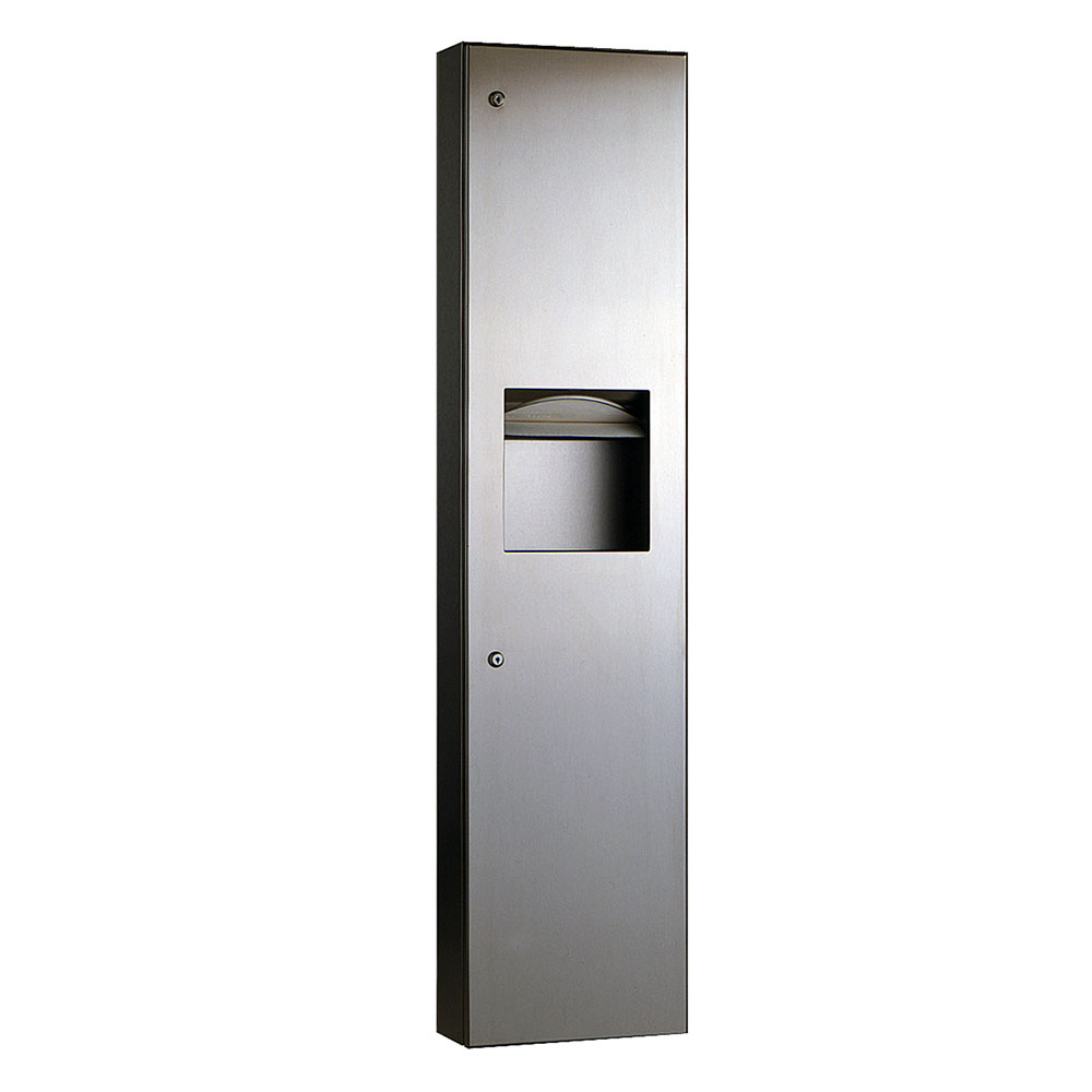 Bobrick B-380349 TrimLineSeries Recessed Paper Towel Dispenser / Waste Receptacle 6.3 Gallon