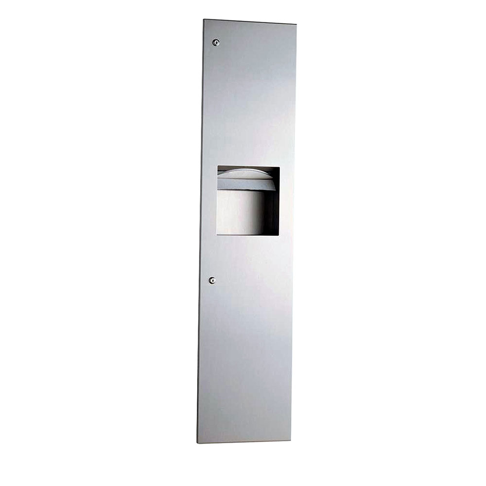 Bobrick B38034 Recessed Paper Towel Dispenser / Waste Receptacle 3.8 Gallon