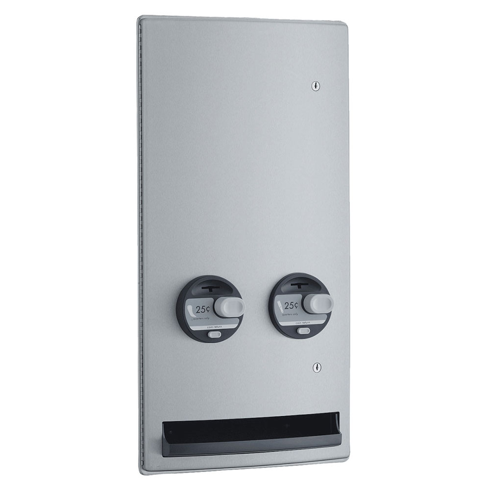 Bobrick B-4706 25 ConturaSeries Recessed Push Button Napkin Tampon Vendor, Single, 25-Cent