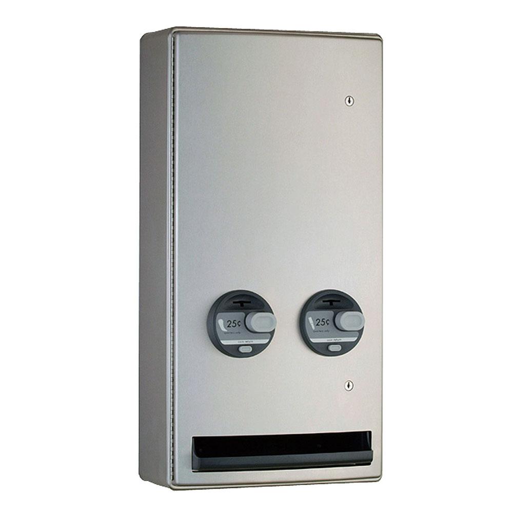 Bobrick B-47069 25 Contura Surface Push Button Napkin Tampon Vendor, Single, 25-Cent
