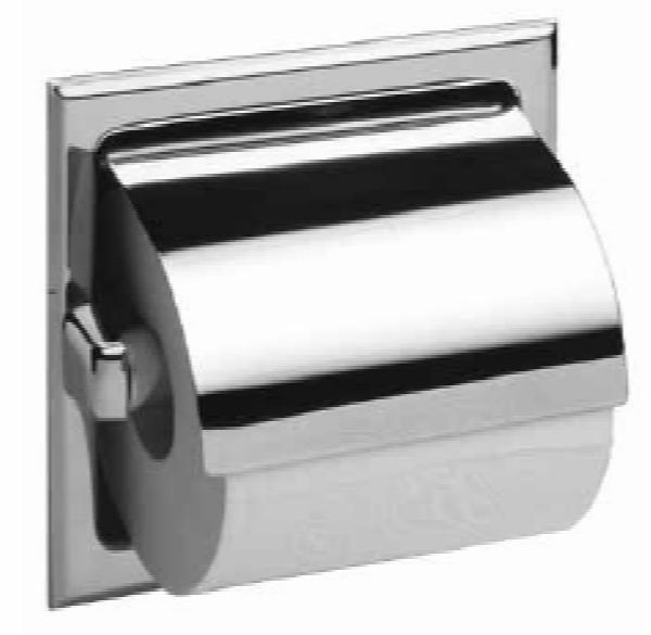 Bobrick B6697 Recessed Toilet Tissue Dispenser w/ Hood, 1 Roll, Satin Stainless