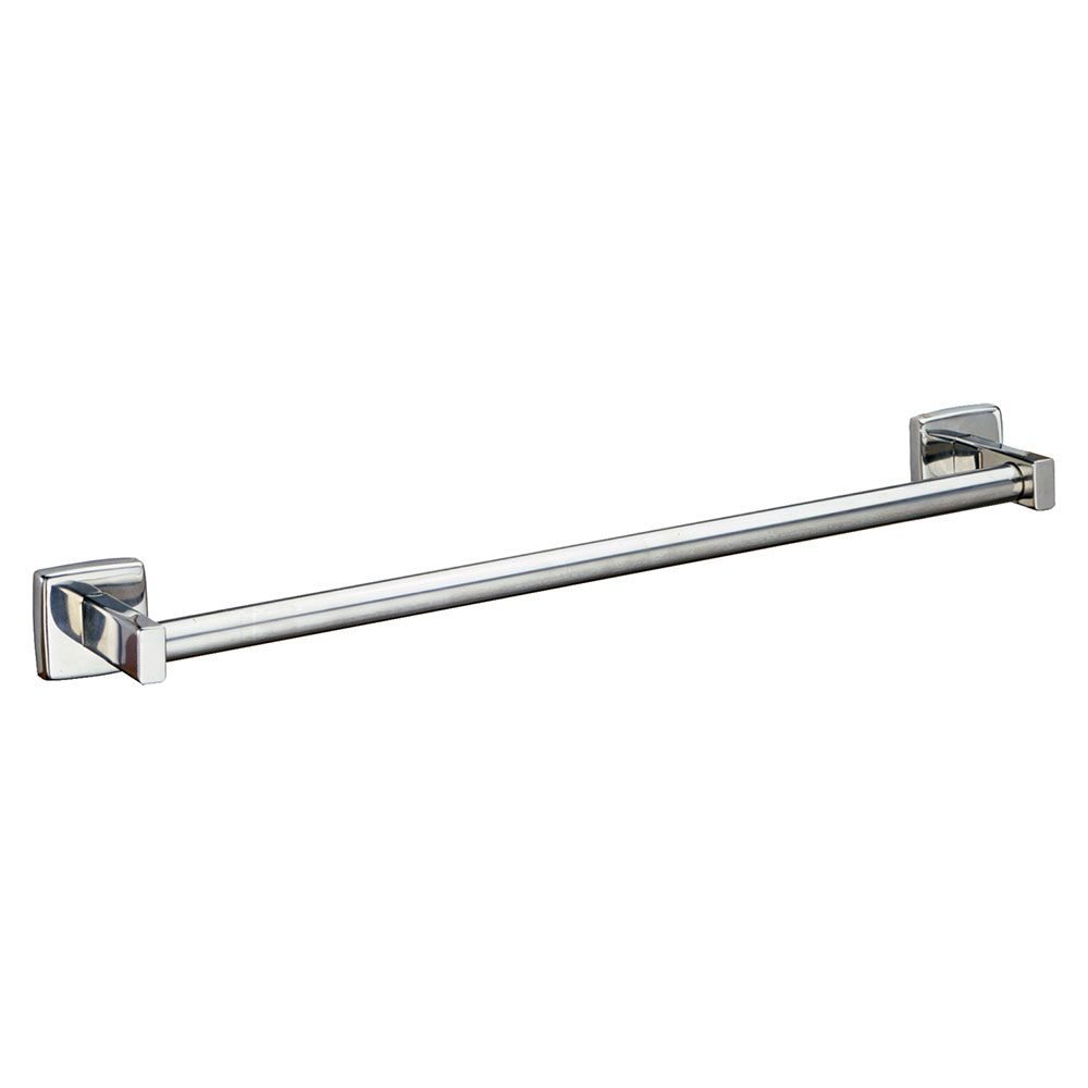 "Bobrick B-674X18 18"" Surface Mounted Towel Bar, Round, Bright Polished Stainless"