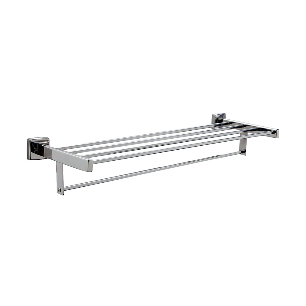 "Bobrick B-676X24 24"" Surface Mounted Towel Shelf w/ Bar, Square, Stainless"