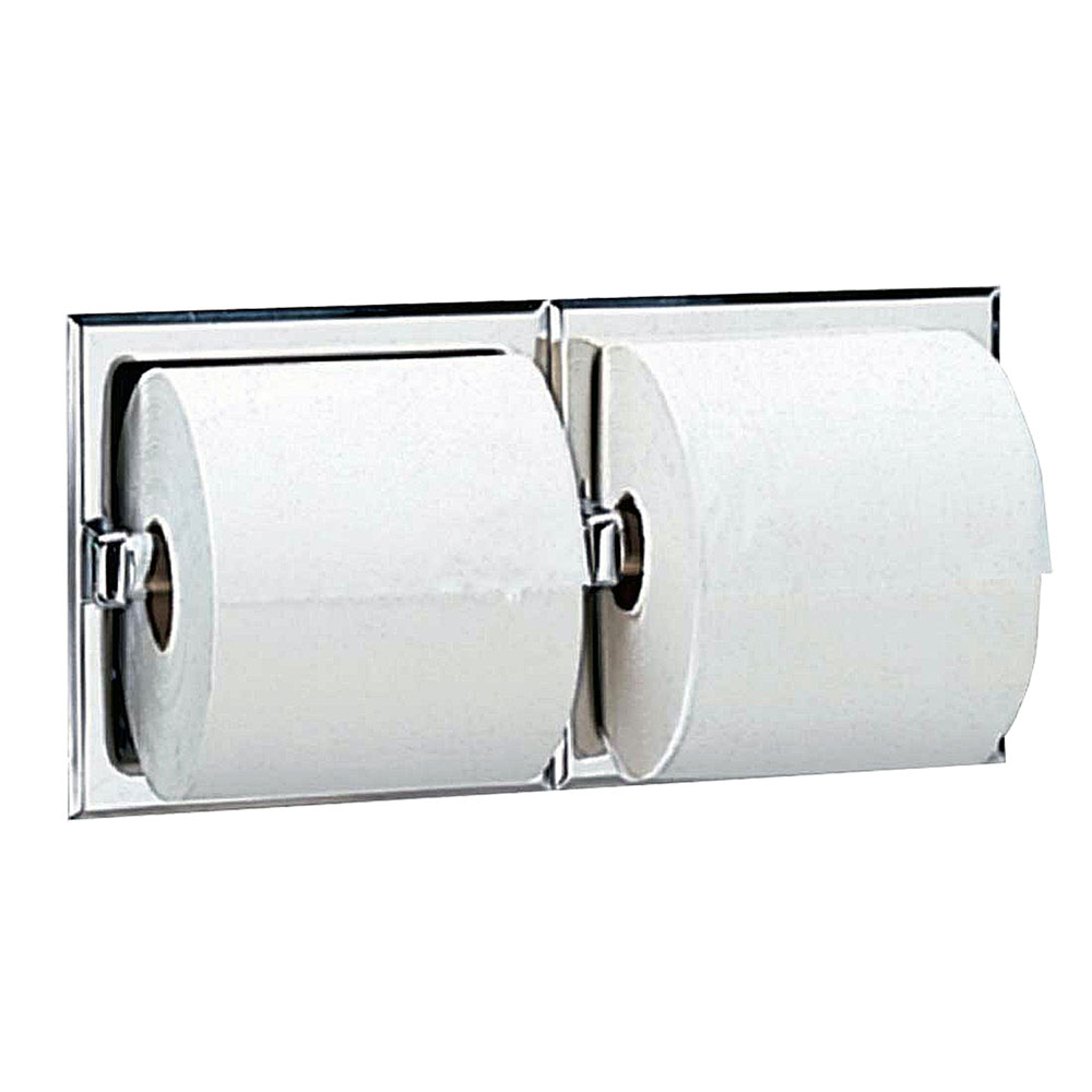 Bobrick B697 Recessed Toilet Tissue Dispenser, 2-Rolls, Polished Stainless