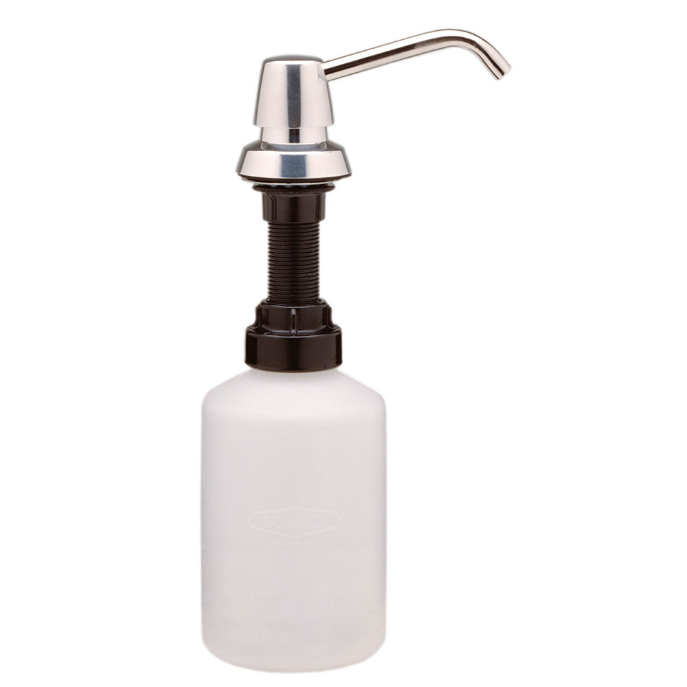 Bobrick B8221 Counter Mounted Soap Dispenser, 4 in Spout, for Counters Up To 1 in Thick