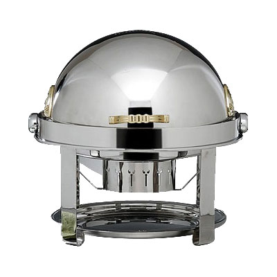 Bon Chef 12010 2-Gallon Roll Down Round Chafer, Stainless w/ Brass Accent