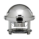 Bon Chef 12010CH 2-Gallon Roll Down Round Chafer, Stainless w/ Chrome Accent