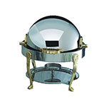 Bon Chef 12014 3-Qt Round Roll Down Dripless Chafer, Stainless w/ Brass