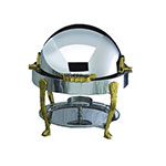 Bon Chef 12014G 3-Qt Round Roll Down Dripless Chafer, Stainless w/ Gold