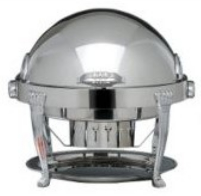 Bon Chef 13009 Round 2-Gallon Roll-Down Chafer, Aurora, Silver Plated