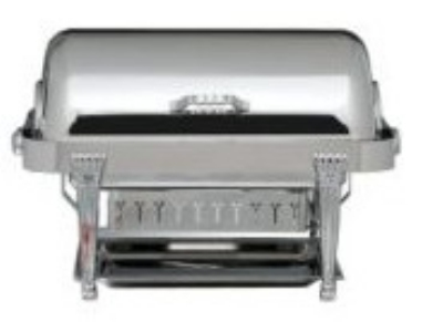 Bon Chef 13040 Rectangular 2-Gallon Full Roll Down Chafer w/ Silver Plate