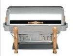 Bon Chef 18040G 2-Gallon Rectangular Roll Down Chafer, Gold, Lion