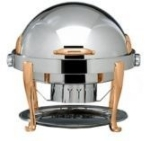 Bon Chef 19000G 2-Gallon Round Roll Down Chafer, Stainless w/ Gold, Roman